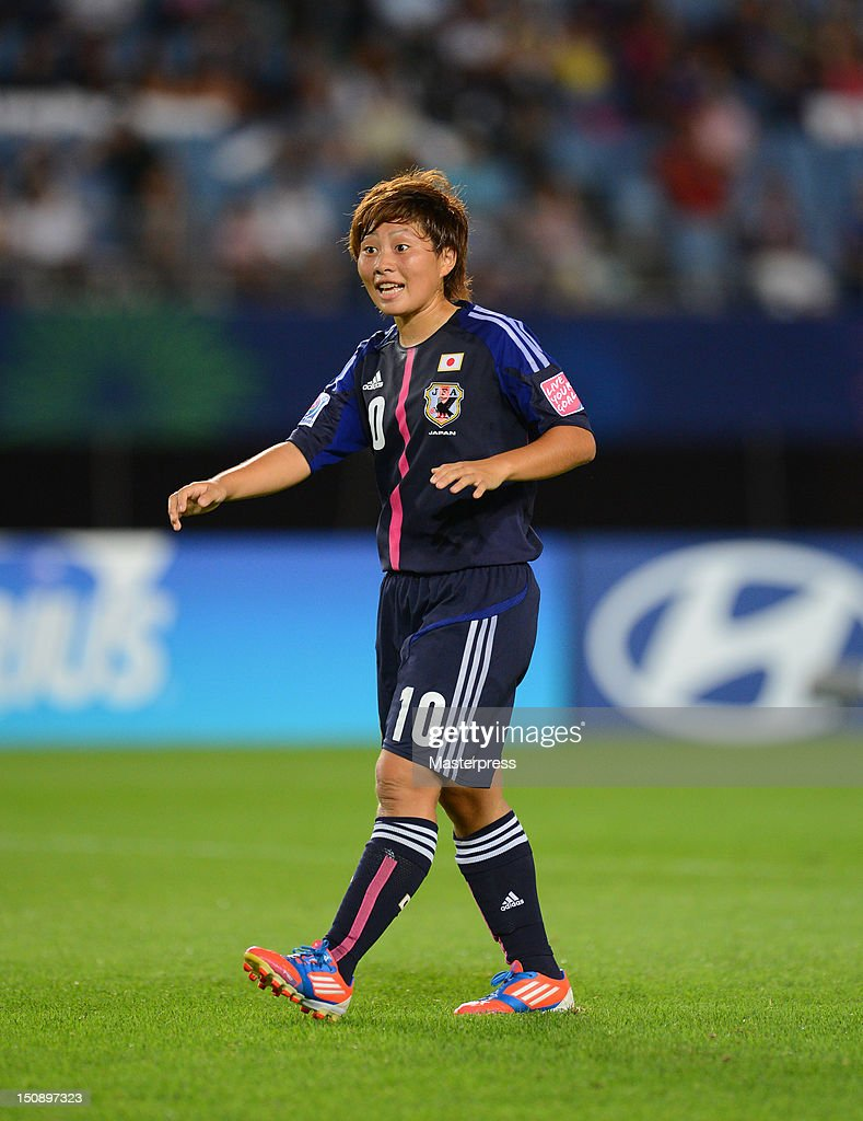 <a gi-track='captionPersonalityLinkClicked' href=/galleries/search?phrase=Kumi+Yokoyama&family=editorial&specificpeople=7180346 ng-click='$event.stopPropagation()'>Kumi Yokoyama</a> of Japan in action during the FIFA U-20 Women's World Cup Group A match between Japan and Mexico at Miyagi Stadium on August 19, 2012 in Rifu, Miyagi, Japan.
