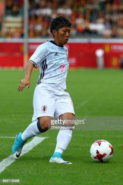 Kumi Yokoyama of Japan runs with the ball during the Women's International Friendly match between Belgium and Japan at Stadium Den Dreef on June 13...
