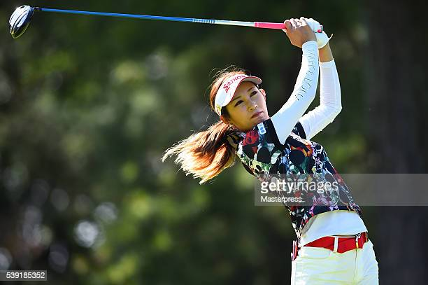Kumiko Kaneda of Japan hits her tee shot during the second round of the Suntory Ladies Open at the Rokko Kokusai Golf Club on June 10 2016 in Kobe...