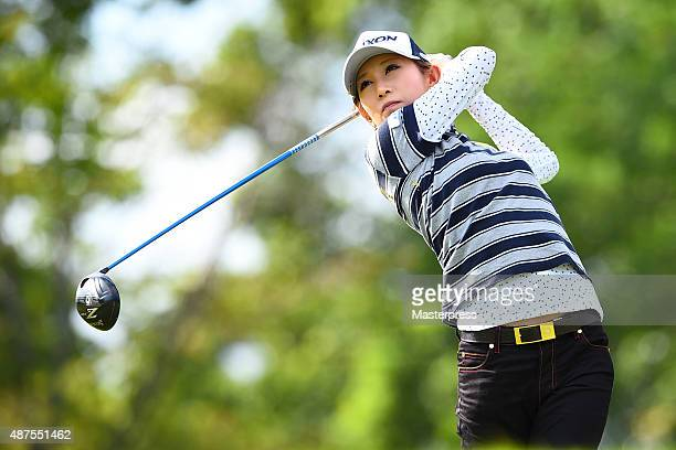Kumiko Kaneda of Japan hits her tee shot on the 11th hole during the first round of the 48th LPGA Championship Konica Minolta Cup 2015 at the Passage...