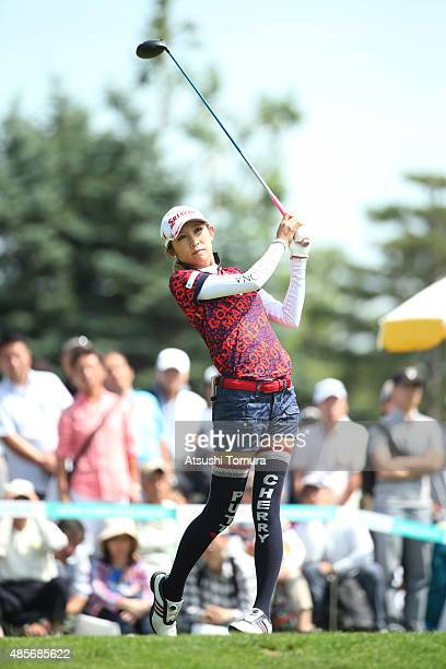 Kumiko Kaneda of Japan hits her tee shot on the 1st hole during the second round of the Nitori Ladies 2015 at the Otaru Country Club on August 29...