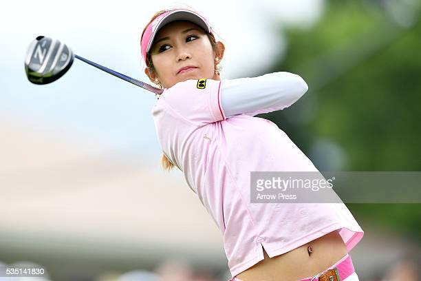 Kumiko Kaneda of Japan hits her tee shot on the 1st hole during the Final round of the Resorttrust Ladies at the Grandee Naruto Golf Club XIV on May...