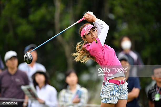 Kumiko Kaneda of Japan hits her tee shot on the 2nd hole during second round of the Resorttrust Ladies at the Grandee Naruto Golf Club XIV on May 28...