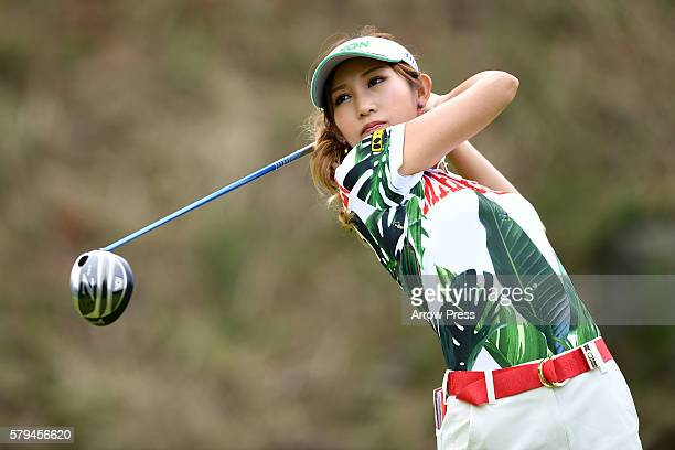 Kumiko Kaneda of Japan hits her tee shot on the 2nd hole during the final round of the Century 21 Ladies Golf Tournament 2016 at the Izu Daijin...