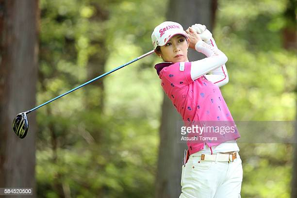 Kumiko Kaneda of Japan hits her tee shot on the 3rd hole during the first round of the Daito Kentaku Eheyanet Ladies 2016 at the Narusawa Golf Club...