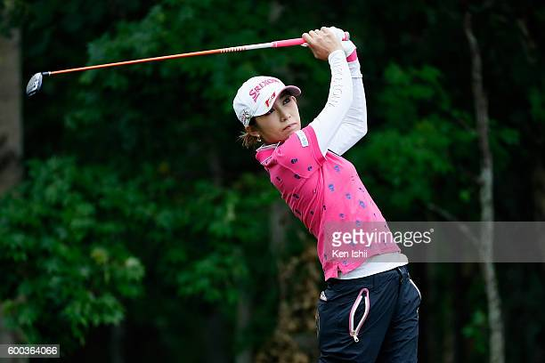 Kumiko Kaneda of Japan hits her tee shot on the 3rd hole during the first round of the 49th LPGA Championship Konica Minolta Cup 2016 at the...