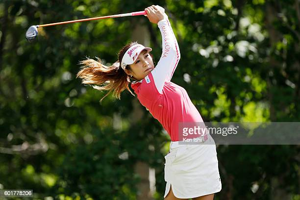 Kumiko Kaneda of Japan hits her tee shot on the 3rd hole during the third round of the 49th LPGA Championship Konica Minolta Cup 2016 at the...