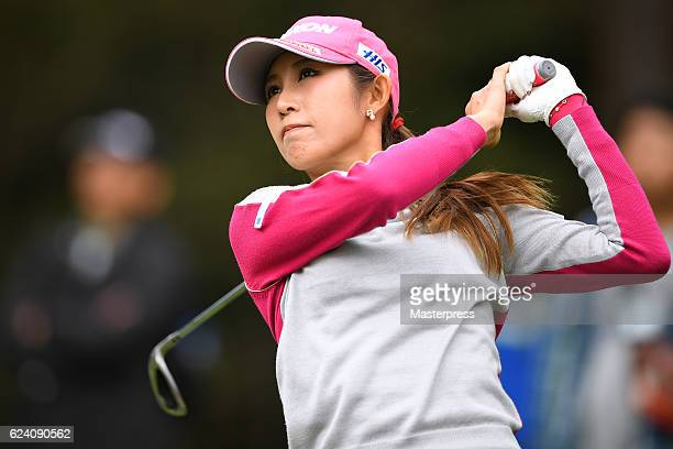 Kumiko Kaneda of Japan hits her tee shot on the 3rd hole during the second round of the Daio Paper Elleair Ladies Open 2016 at the Elleair Golf Club...