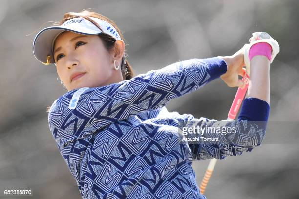 Kumiko Kaneda of Japan hits her tee shot on the 3rd hole during the final round of the Yokohama Tire PRGR Ladies Cup at the Tosa Country Club on...