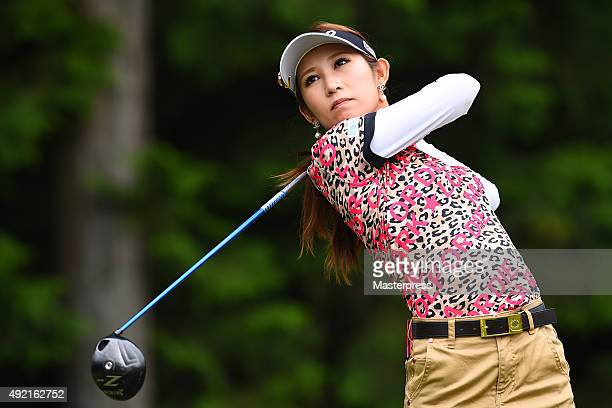 Kumiko Kaneda of Japan hits her tee shot on the 8th hole during the second round of Stanley Ladies Golf Tournament at the Tomei Country Club on...