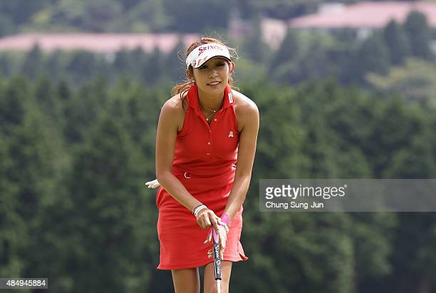 Kumiko Kaneda of Japan on the sixteenth green during the third round of the CAT Ladies Golf Tournament HAKONE JAPAN 2015 at the Daihakone Country...