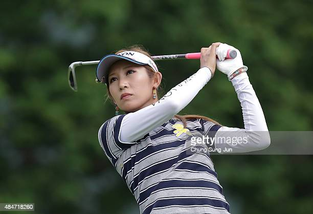 Kumiko Kaneda of Japan plays a tee shot on the fifth hole during the first round of the CAT Ladies Golf Tournament HAKONE JAPAN 2015 at the Daihakone...