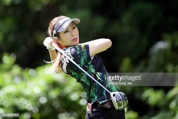 Kumiko Kaneda of Japan plays a tee shot on the second hole during the first round of the Nichirei Ladies at the Sodegaura Country Club Shinsode...