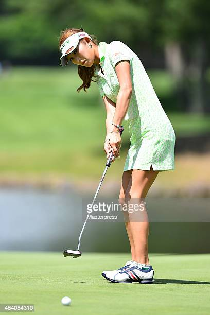 Kumiko Kaneda of Japan putts during the second round of the NEC Karuizawa 72 Golf Tournament 2015 at the Karuizawa 72 Golf North Course on August 15...