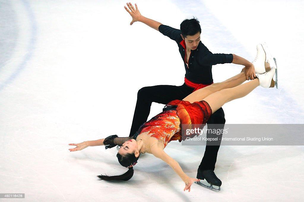 Kumiko Maeda and Junya Watanabe of Japan skate during the junior ice short dance of the ISU Junior Grand Prix at Dom Sportova on October 10 2015 in...