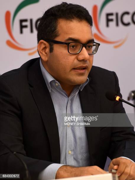 Kunal Bahl Cofounder and CEO Snapdeal speaks during a press conference on Model GST Law for the e Commerce Sector in New Delhi on February 9 2017 /...
