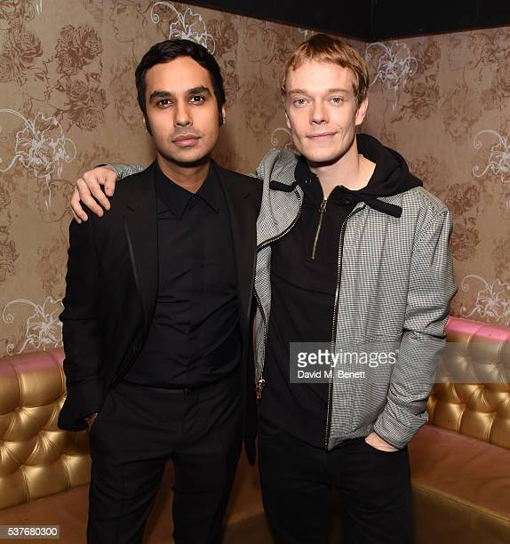 Kunal Nayyar and Alfie Allen attend the press night after party for 'The Spoils' written by and starring Jesse Eisenberg at The Cuckoo Club on June 2...