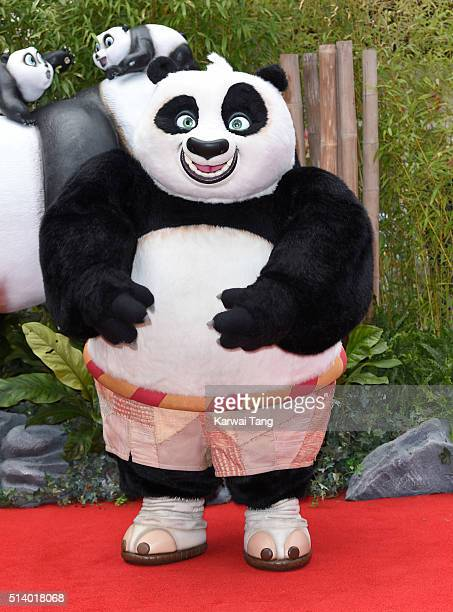 Kung Fu Panda arrives for the European premiere of 'Kung Fu Panda 3' at Odeon Leicester Square on March 6 2016 in London England
