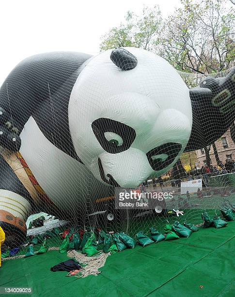 Kung Fu Panda balloon at Macy's Thanksgiving balloon blow up at Central Park West on November 23 2011 in New York City