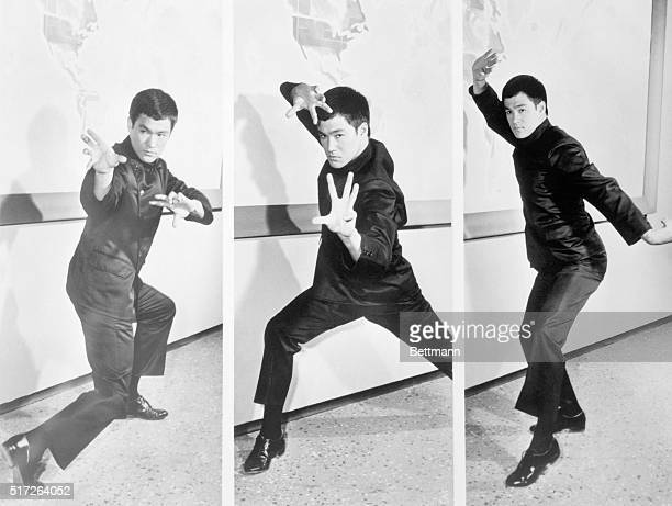 Kung FuBruce Lee who plays Kato in ABCTV's The Green Hornet Fridays springs into three of the basic positions of Kung Fu the ancient Oriental art of...