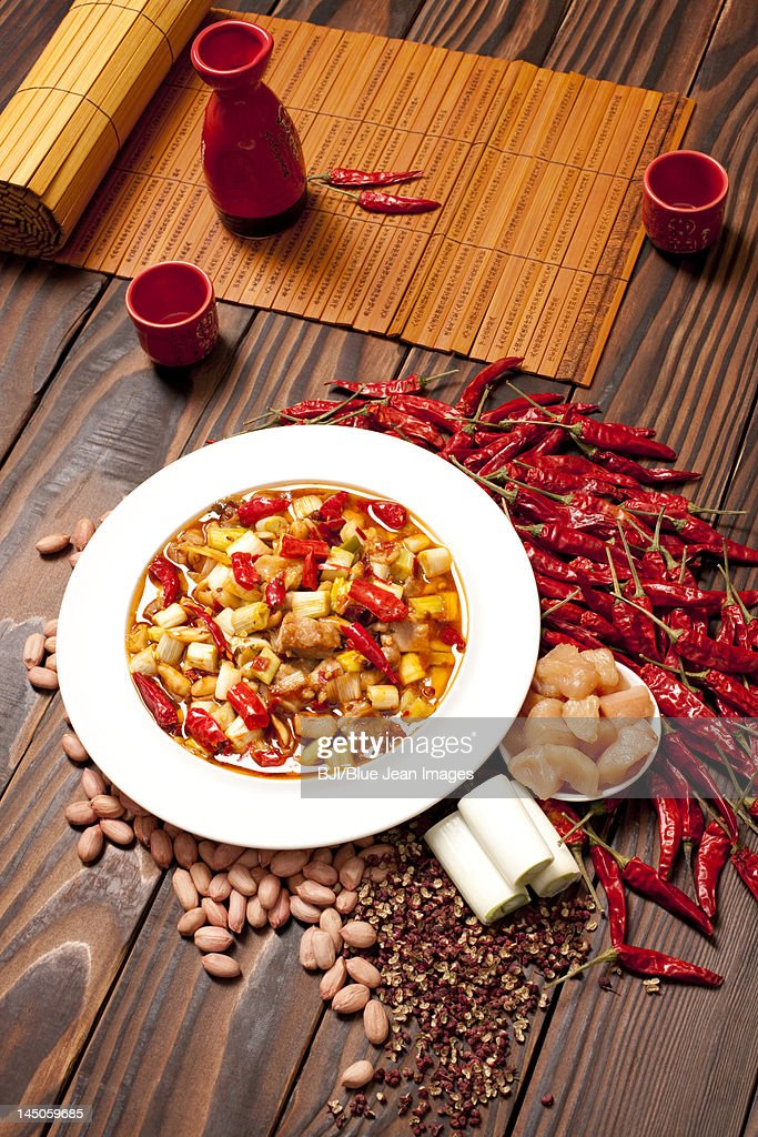 Kung Pao Chicken and its ingredients : Stock Photo