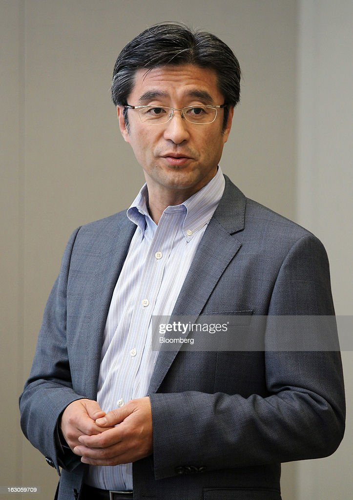 Kunimasa Suzuki, president and chief executive officer of Sony Mobile Communications, speaks during an interview in Tokyo, Japan, on Monday, March 4, 2013. Sony plans to make its mobile-device business profitable next fiscal year as it boosts shipments of smartphones, Suzuki said. Photographer: Junko Kimura/Bloomberg via Getty Images