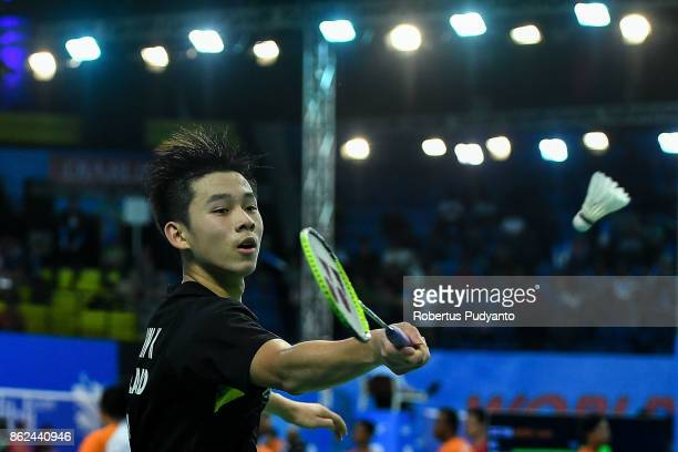 Kunlavut Vitidsarn of Thailand competes against Gu Junfeng of China during Men Single qualification round of the BWF World Junior Championships 2017...