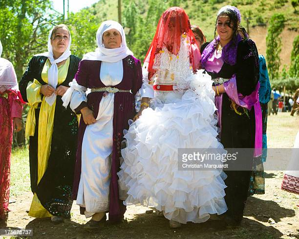 Kurdish bride is pictured with her tradational clothes during a wedding ceremony at a small village in the mountains of Hakkari on June 06 2013...