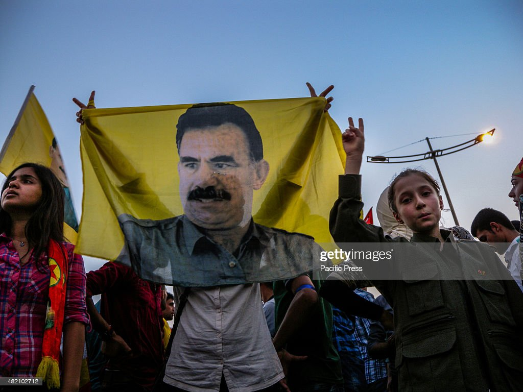 Kurdish demonstrator participates in a demonstration that was organized to protect Qandil mountain and negotiate with the Turkey council to stop...
