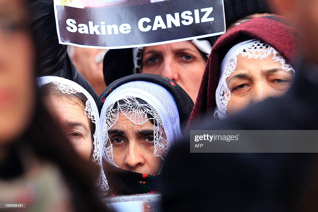 Kurdish people protest the killings of three Kurdish women activists in France during a rally in front of the French Consulate in Istanbul on January 11, 2013. Demonstrators gathered at the French Consulate in Istanbul following the killings of three Kurdish women activists on 10 January, including Sakine Cansiz, a founding member of the militant Kurdistan Workers Party (PKK). Cansiz, who had been living in exile in France for years, was found dead in the early hours of 10 January in a Kurdish documentation centre on the first floor of an apartment building near Gare du Nord train station. Two other women - the president of the centre, Fidan Dogan, and Leyla Soylemez, also described as an activist - were also killed.