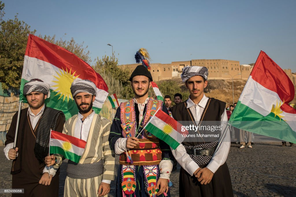 Kurdish people show their support for the upcoming referendum for independence of Kurdistan in a gathering at City Centre on September 13, 2017 in Erbil, Iraq. Upto five million people in Kurdish-held areas of northern Iraq will be called upon to take part in a non-binding referendum on independence from Iraq.
