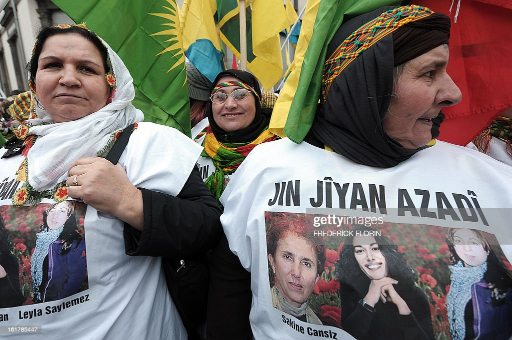 Kurdish people take part in a demonstration, gathering thousand of people from all around Europe, to ask for the liberation of jailed leader of Turkey's Kurd rebels Abdullah Ocalan in Strasbourg, eastern France, on February 16, 2013. Ocalan has been serving a life sentence in a high-security prison on the island of Imrali since 1999 over the bloody separatist campaign his Kurdistan Workers' Party (PKK) has waged in the southeast.