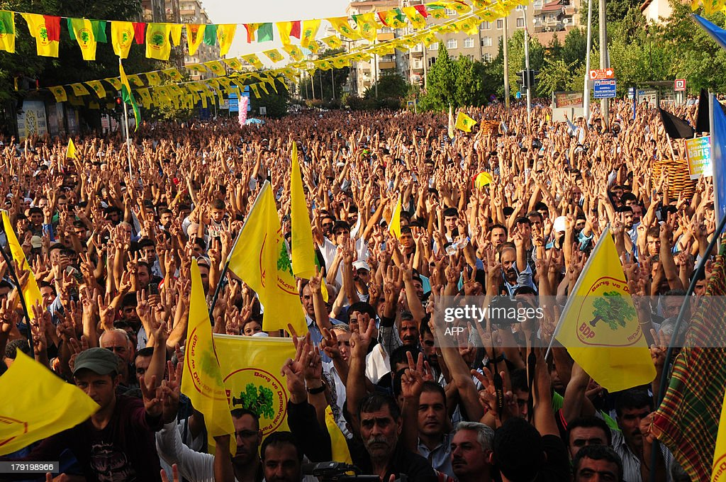 Kurdish people waves flags and chant slogans while demonstrating to celebrate the Peace day, in Diyarbakir, on September 1, 2013.