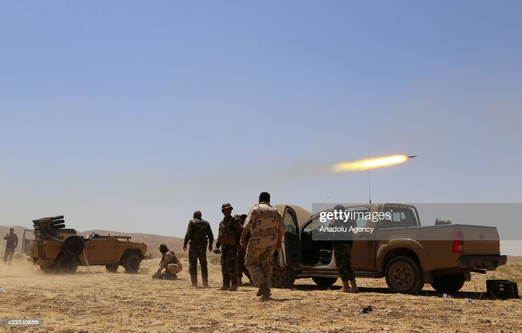 Kurdish peshmergas fight against Islamic State of Iraq and the Levant (ISIL) in Mosul, Iraq on 8 August, 2014.
