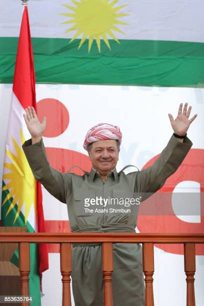 Kurdish President Masoud Barzani waves during a rally for the upcoming referendum for independence of Kurdistan on September 22 2017 in Erbil Iraq...
