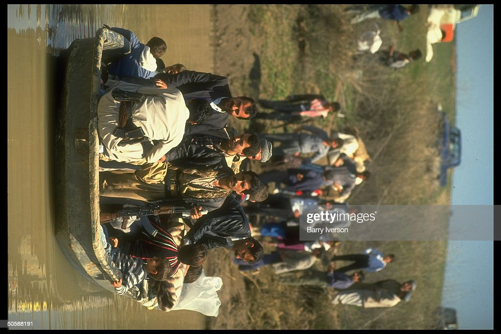 Kurdish refugees rebels crossing Tigris River by boat fleeing Iraqi shores for Syria fearing Iraqi retribution in post gulf war uprising