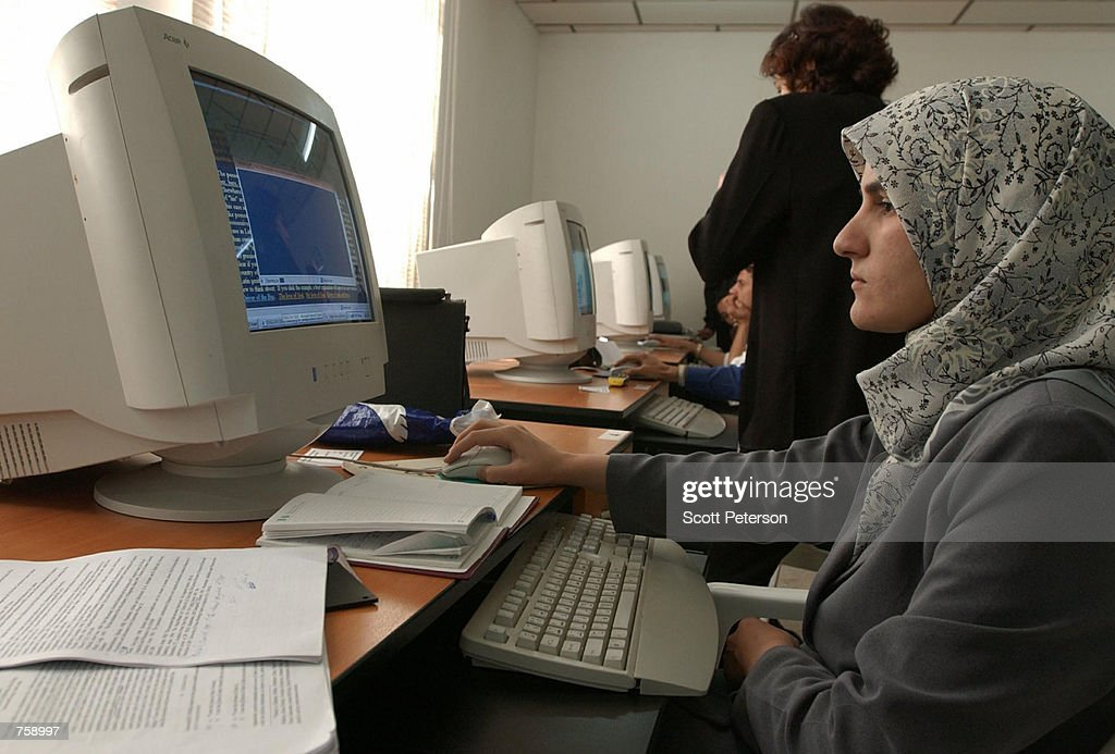 Kurdish student at Suleimaniyeh University uses the computers March 26 2002 in Suleimaniyah Iraq Suleimaniyah is in the part of northern Iraq's 'safe...