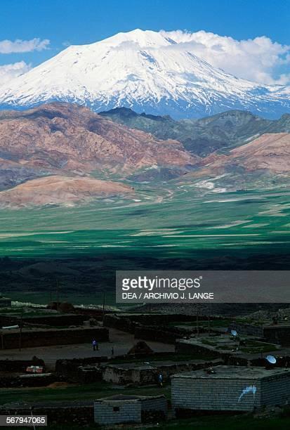 Kurdish village with Mount Ararat in the background Eastern Anatolia Turkey