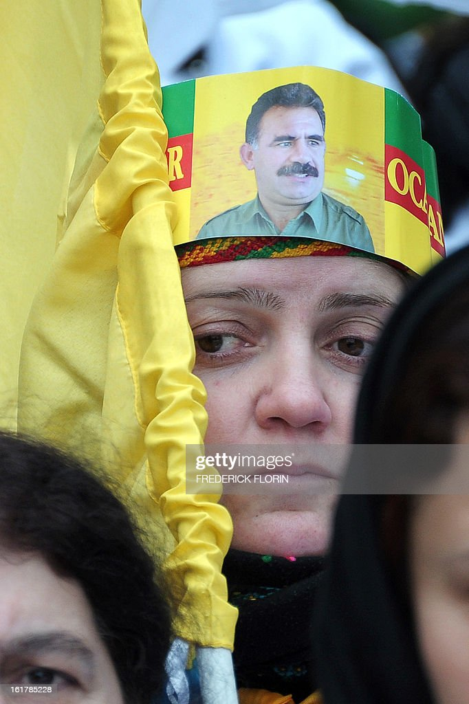 A Kurdish woman bearing a picture of Turkey's Kurd rebels Abdullah Ocalan take part in a demonstration, gathering thousand of people from all around Europe, to ask for the liberation of Ocalan in Strasbourg, eastern France, on February 16, 2013. Ocalan has been serving a life sentence in a high-security prison on the island of Imrali since 1999 over the bloody separatist campaign his Kurdistan Workers' Party (PKK) has waged in the southeast.