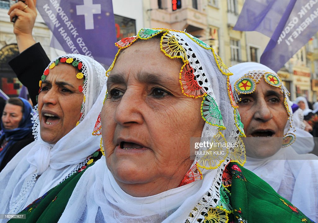 Kurdish women chant slogans as they gather in front of the French consulate to demonstrate on March 1, 2013 against the killings of three female Kurdish activists in France. The jailed leader of Kurdish rebels, Abdullah Ocalan, is set to call for a long-sought ceasefire on March 21, the day of the Kurdish new year, as part of a renewed push for peace with Ankara, officials said yesterday.