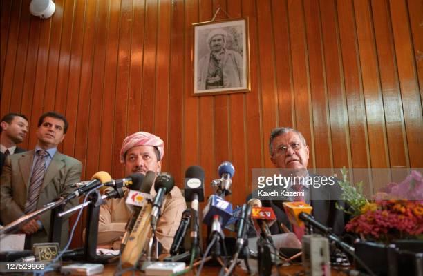 Kurdistan Democratic Party leader Massoud Barzani and Patriotic Union of Kurdistan leader Jalal Talabani at a meeting of the Iraqi Kurdistan...