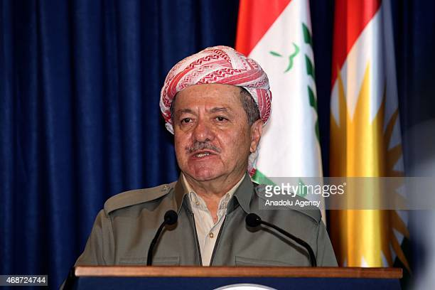Kurdistan Regional Government President Masoud Barzani speaks during a joint press conference with Iraqi Prime Minister Haidar alAbadi after their...