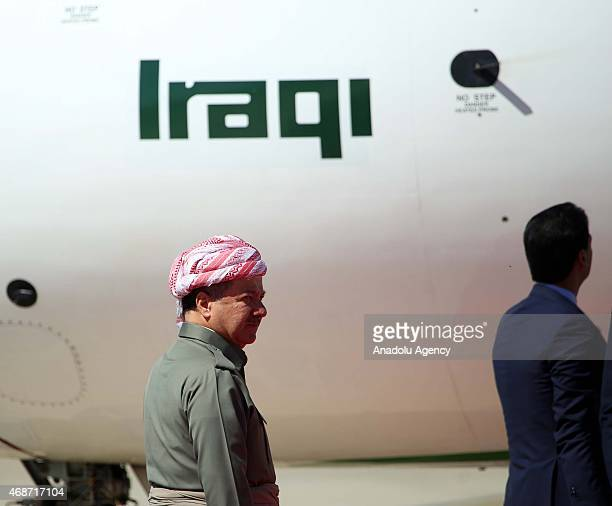 Kurdistan Regional Government President Masoud Barzani waits for the arrival of Iraqi Prime Minister Haidar alAbadi during a welcoming ceremony at...