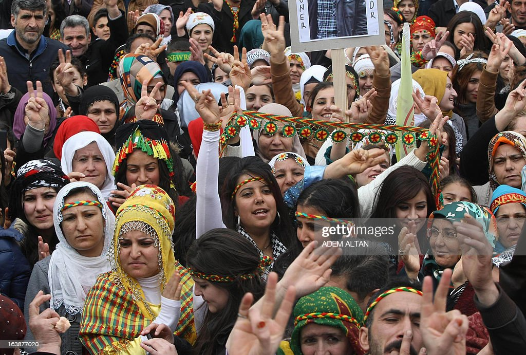 Kurds celebrate on March 17, 2013 Nowruz, the Persian New Year festival, in Ankara. The festival is celebrated in Turkey, Central Asian republics, Iraq, Iran, Azerbaijan as well as war-torn Afghanistan and coincides with the astronomical vernal equinox.