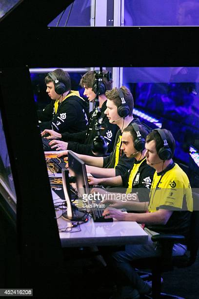 XBOCT Kuroky Puppey and Dendi of Natus Vincere compete at The International DOTA 2 Championships at Key Arena on July 19 2014 in Seattle Washington