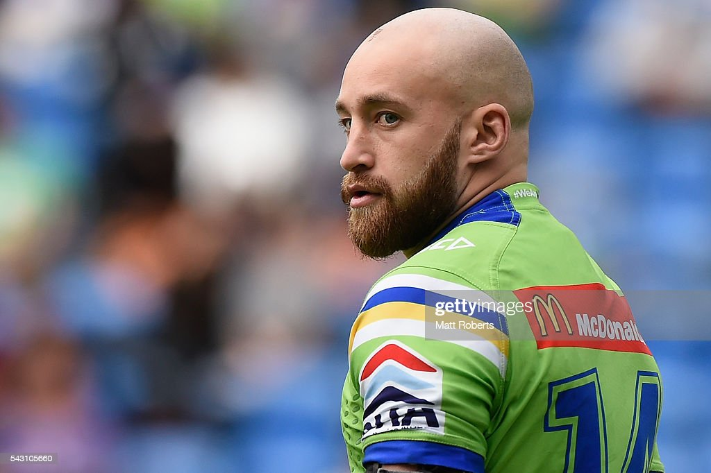 Kurt Baptiste of the Raiders warms up on the field before the round 16 NRL match between the Gold Coast Titans and the Canberra Raiders at Cbus Super Stadium on June 26, 2016 in Gold Coast, Australia.