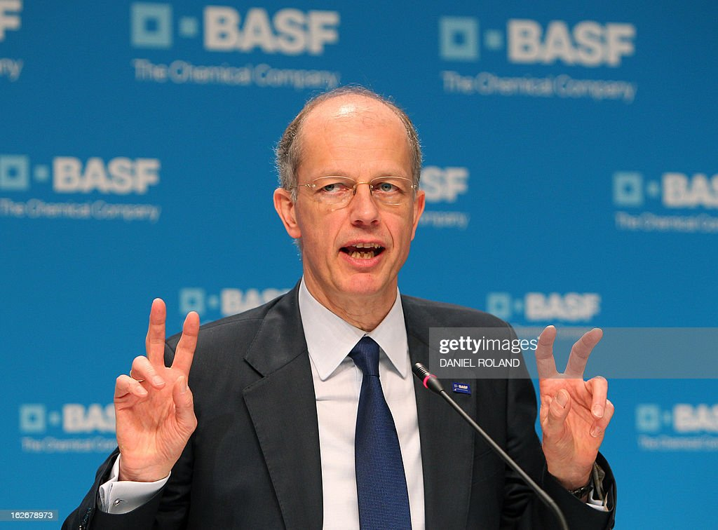 Kurt Bock, CEO of German chemical company BASF addresses the earnings press conference in Ludwigshafen, southern Germany on February 26, 2013. BASF, the world's biggest chemicals company, said that profits fell sharply last year on weak chemicals demand and higher taxes, but it expected sales and earnings to grow again this year. AFP PHOTO / DANIEL ROLAND