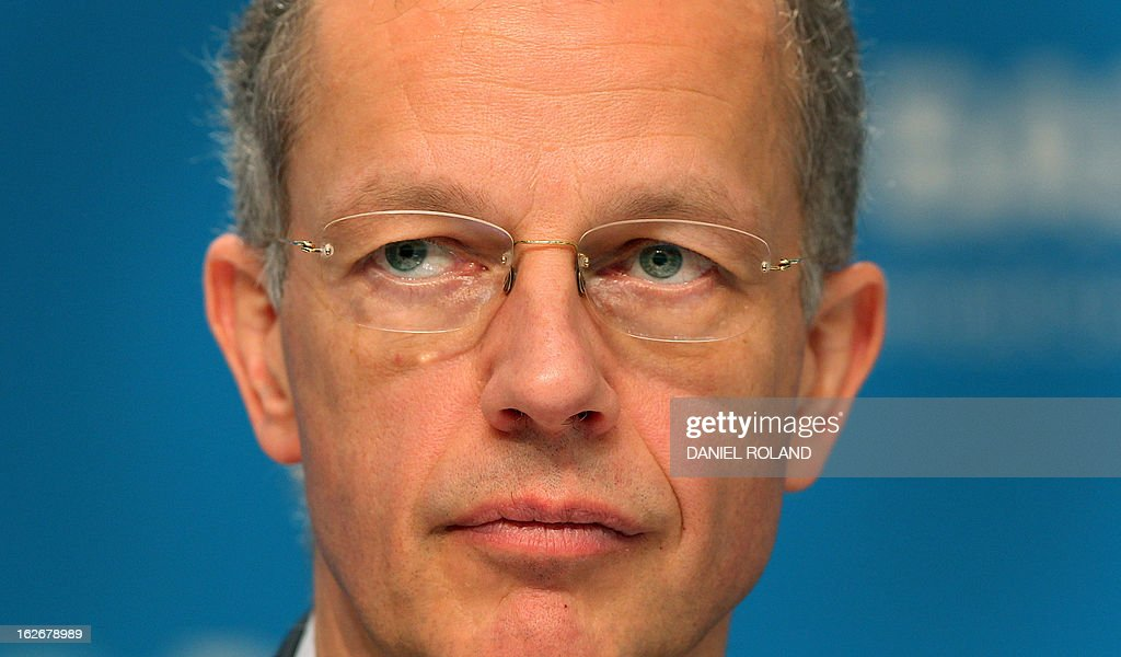 Kurt Bock, CEO of German chemical company BASF addresses the earnings press conference in Ludwigshafen, southern Germany on February 26, 2013. BASF, the world's biggest chemicals company, said that profits fell sharply last year on weak chemicals demand and higher taxes, but it expected sales and earnings to grow again this year.