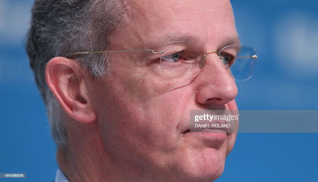 Kurt Bock CEO of German chemical company BASF addresses the media during the company's annual financial statement at its headquarters in Ludwigshafen...
