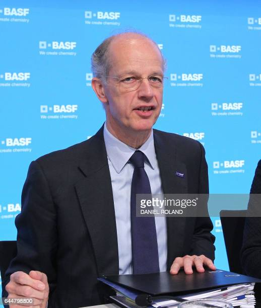Kurt Bock CEO of German chemical company BASF addresses the media during the company's annual financial statement at it's headquarter in Ludwigshafen...